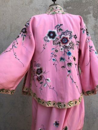Antique 1920s Chinese Pink Silk Embroidery Qipao Cheongsam Banner Dress Signed 10