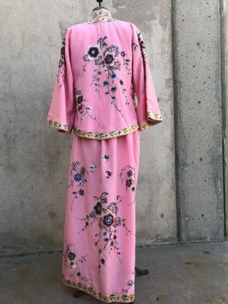Antique 1920s Chinese Pink Silk Embroidery Qipao Cheongsam Banner Dress Signed 11