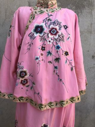 Antique 1920s Chinese Pink Silk Embroidery Qipao Cheongsam Banner Dress Signed 2