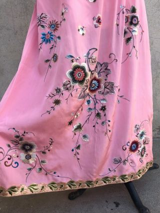 Antique 1920s Chinese Pink Silk Embroidery Qipao Cheongsam Banner Dress Signed 3