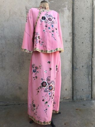 Antique 1920s Chinese Pink Silk Embroidery Qipao Cheongsam Banner Dress Signed 4