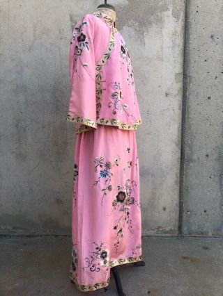 Antique 1920s Chinese Pink Silk Embroidery Qipao Cheongsam Banner Dress Signed 6