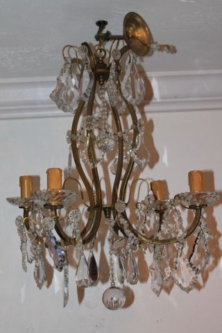 French Louis Xv Style Baccarat Crystal - Bronze Cage Frame 19thc Chandelier