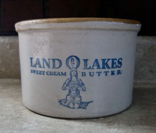 Antique Red Wing Stoneware Advertising Butter Crock Land O Lakes