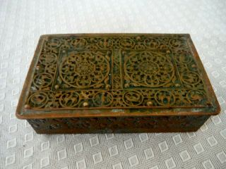 Antique Erhard & Sohne Art Nouveau Footed Brass Tobacco Box,  Germany Signed