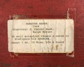 "Antique 16mm Movie ""The Monster Maker"" 1944 B/W ANFP Sound Release 2 - Heads - 2 2"