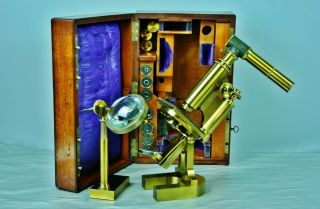 Large Antique Microscope / Outfit Hartnack & Cie Paris & Potsdam Boxed C.  1878