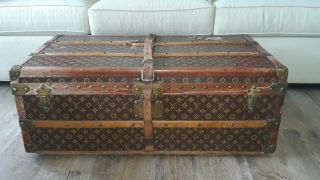 Antique Louis Vuitton Monogram Steamer Trunk W/ Leather Strap & Insert Tray