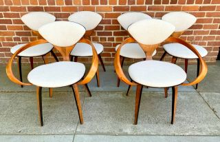 Set Of 6 Norman Cherner Molded Plywood Dining Chairs By Plycraft,  1950s