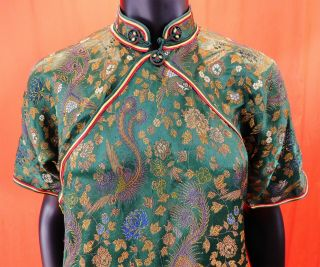 Antique Chinese Qipao Cheongsam Green Brocade Phoenix Fenghuang Banner Dress Vtg 2