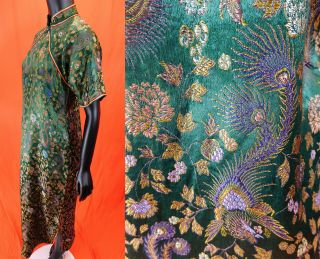 Antique Chinese Qipao Cheongsam Green Brocade Phoenix Fenghuang Banner Dress Vtg 3