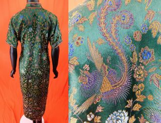 Antique Chinese Qipao Cheongsam Green Brocade Phoenix Fenghuang Banner Dress Vtg 4