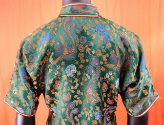Antique Chinese Qipao Cheongsam Green Brocade Phoenix Fenghuang Banner Dress Vtg 5