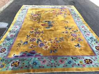 Auth: Antique Art Deco Chinese Rug Golden Yellow 10x13 Nichols Beauty Nr