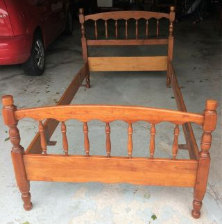 Vintage L.  & J.  G.  Stickley Cherry Valley Twin Single Spindle Bed Frame