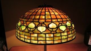 Tiffany Studios Lamp 1900s Acorn Favrile Glass & Bronze