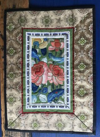 Antique Chinese Embroidered Textile Silk Robe Central Panel Badge