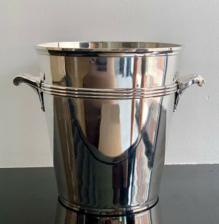 Large Art Deco French Sterling Silver Wine Cooler 950 - 1000 Coignet Paris 1930