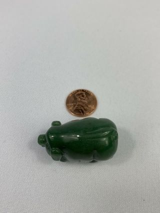 Vintage Small Chinese Jade Carved Pig Figure,  Collectible,  Antique - 1 Inch -