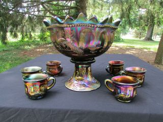 Northwood Peacock At The Ftn Antique Carnival Glass Complete 8 Pc.  Punch Set