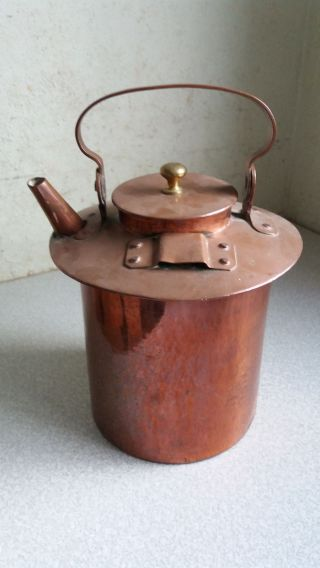 Antique Copper Kettle / Tea Pot - Arts Crafts - 10 Inches Tall - Loose Spout