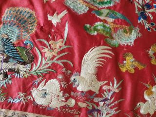 ANTIQUE 19TH CENTURY CHINESE SILK TAPESTRY EMBROIDERY ORIENTAL TABLE RUNNER 5ft 11