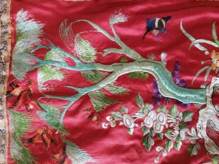 ANTIQUE 19TH CENTURY CHINESE SILK TAPESTRY EMBROIDERY ORIENTAL TABLE RUNNER 5ft 12