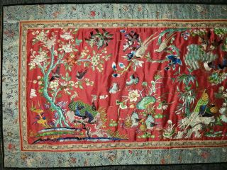 ANTIQUE 19TH CENTURY CHINESE SILK TAPESTRY EMBROIDERY ORIENTAL TABLE RUNNER 5ft 2