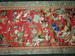 ANTIQUE 19TH CENTURY CHINESE SILK TAPESTRY EMBROIDERY ORIENTAL TABLE RUNNER 5ft 3