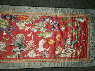 ANTIQUE 19TH CENTURY CHINESE SILK TAPESTRY EMBROIDERY ORIENTAL TABLE RUNNER 5ft 5
