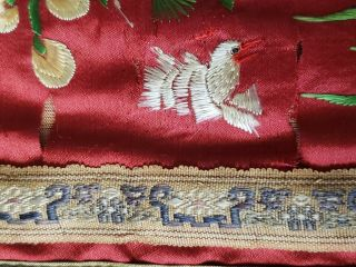 ANTIQUE 19TH CENTURY CHINESE SILK TAPESTRY EMBROIDERY ORIENTAL TABLE RUNNER 5ft 7