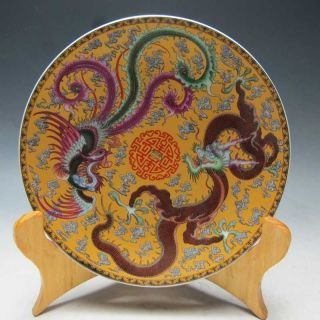 """10.  2 """" Old Porcelain Hand - Painted Dragon And Phoenix Plate W Qianlong Mark"""