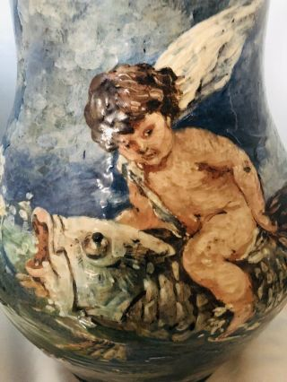 RARE French Limoges Haviland & Co Huge Heavily Enameled Winged Putti Riding Fish 3