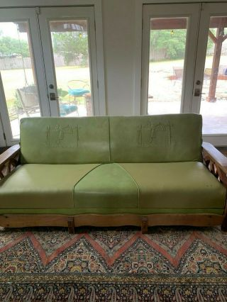 Rare Brandt Ranch Oak Cowboy Wagon Wheel Couch.  Green On Green Stunner