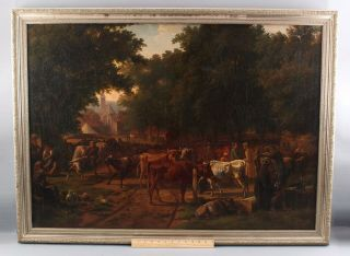 19thc Antique European Village Countery Market W/ Cattle & Peasants Nr