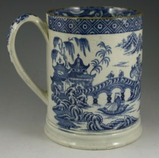 Antique Pottery Pearlware Blue Transfer Chinoiserie Pattern Large Tankard 1815