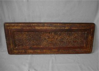 Antique Tibet Top High Aged Early Large Wood Gilt Book Cover With Buddha