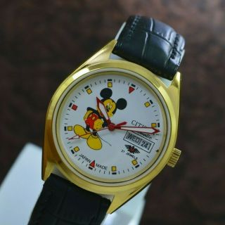 Vintage Citizen Mickey Mouse Day Date 21 Jewels Automatic Men