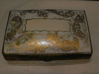 Antique Le Tallec Limoges Paris France Hand Painted Gold Gilt Porcelain Case Box