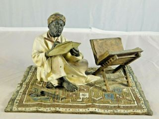 Franz Bergman Austrian Cold - Painted Bronze Figure Of A Bedouin Calligrapher