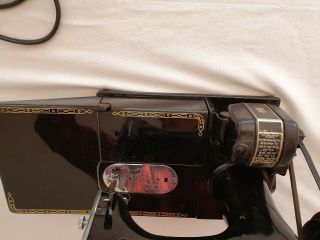 Antique singer electric sewing machine.  Model 222K Featherweight portable 4
