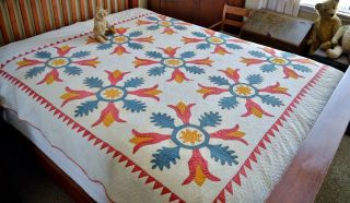 Antique Hand Stitched Folky Tulip Applique Quilt Dated 1826