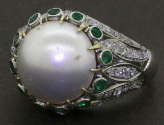 Antique 18k Wg 2.  15ct Vs Diamond Emerald 13.  0mm Mabe Pearl Cocktail Ring Sz 8.  75