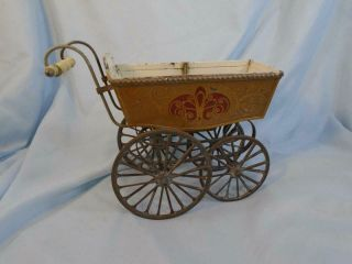 Antique German Marklin Doll Carriage Buggy Tin Metal Gold With Red & Cream Trim