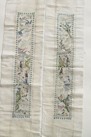 Antique Chinese Qing Dynasty 19th Century Silk Embroidered Sleeves Court Ladies