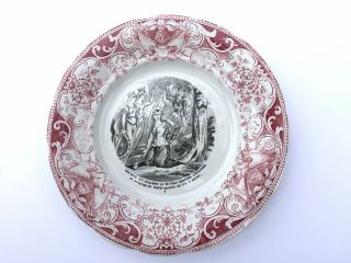Antique 19`c French Depose Terre De Fer Joan Of Arc Collectable Porcelain Plate