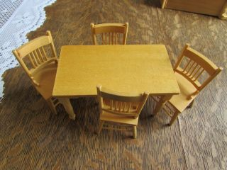 Doll House Miniature Wood Furniture Blonde Kitchen Table 4 Chairs