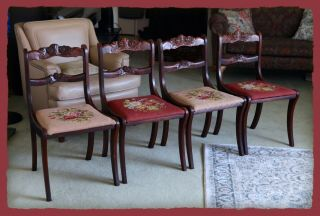Duncan Phyfe Rose Back Tell City Dining Side Chair Set (4),  Rare Three Roses