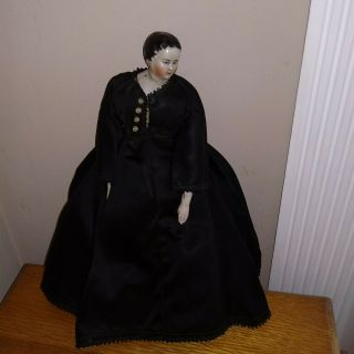 Antique China Head Doll Civil War Black Silk Mournng Dress Head Turned Sideways