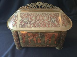 Large Antique Erhard & Sohne Inlaid Brass Burl Wood Reliquary Casket Jewelry Box